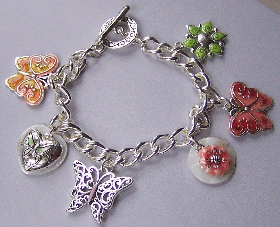 Multicolor Spring Flower Butterfly Charm Pink Bracelet