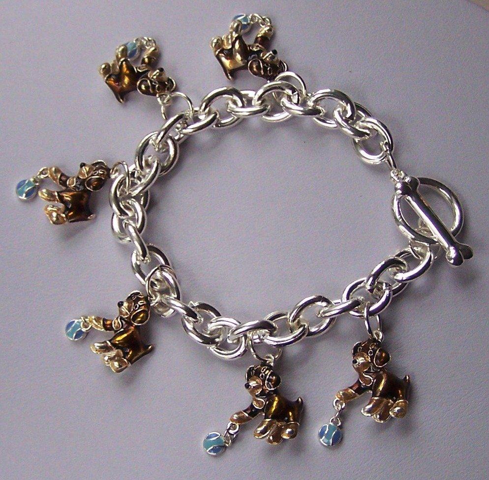 Brown Blue Puppy Dog Animal Lover Charm Bracelet