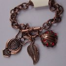 Burnished Copper Tone Clear Crystal Beetle Leaf Fall Wise Owl Charm Bracelet