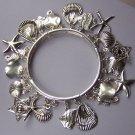 Silver Tone Star Fish Starfish Sea horse Shell Sand Dollar Charm Bracelet