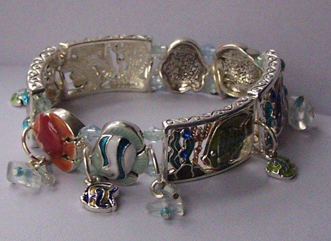 Panoramic Tropical Multicolor Fish Charm Bracelet