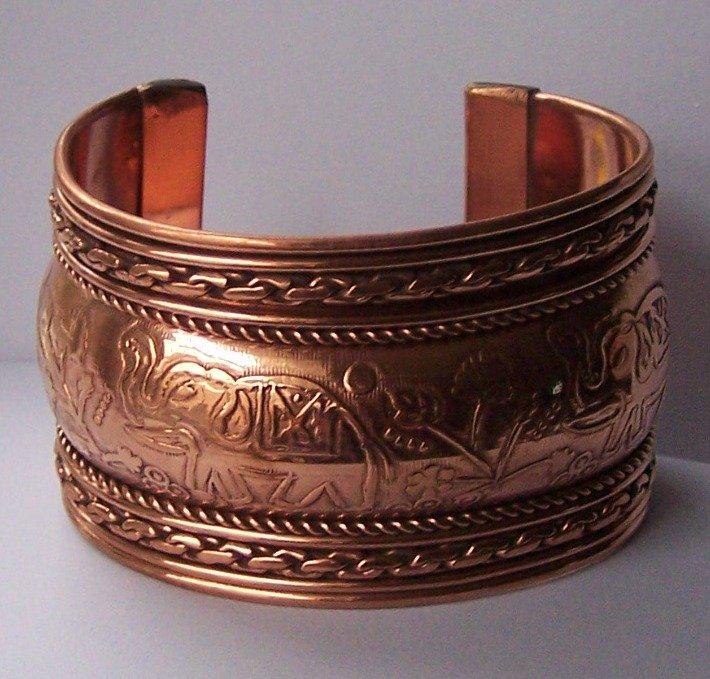 Wide Copper Tone Tribal Bangle Bracelet