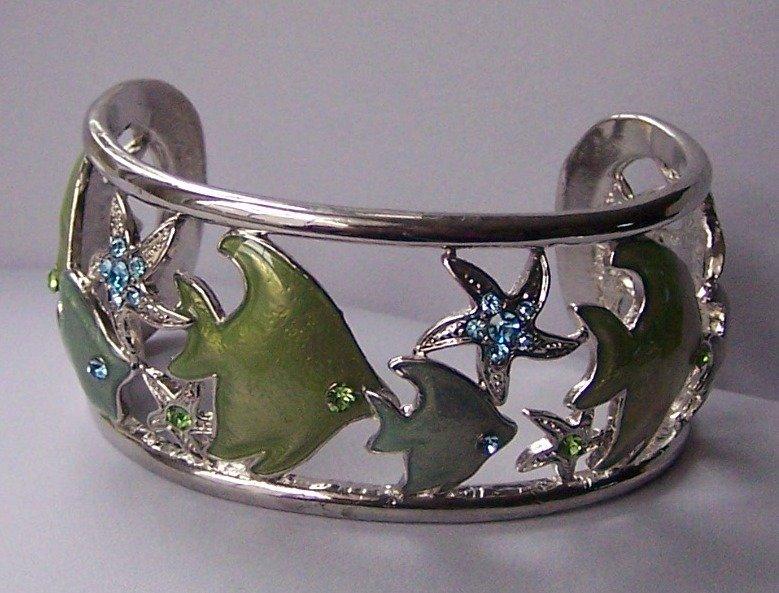 Blue Crystal Tropical Fish Green Bangle Bracelet