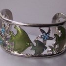 Blue Crystal Tropical Fish Green Bangle Bracelet