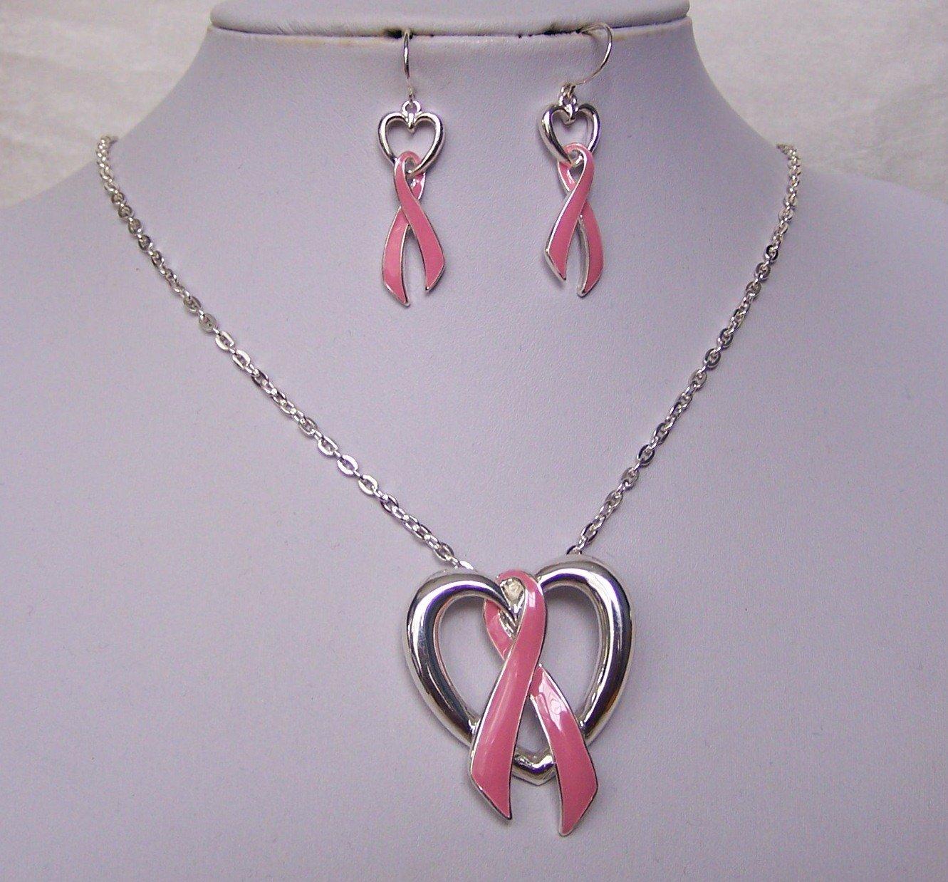 Pink Ribbon Breast Cancer Awareness Necklace Set