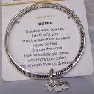 Sisters Sister Inspirational Love Flower Charm Inspirational Bracelet