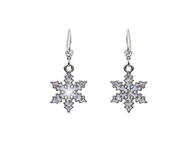 Silver Tone Snowflake Earrings