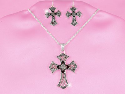Religious Black Cross Necklace Set