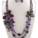 Purple Glass Flower Necklace Set