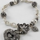 Antique Style Heart Love Valentines Day Charm Bracelet