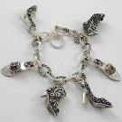Silver Tone Ladies Shoes Charm Bracelet