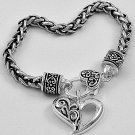 Filigree Heart Love Valentines Day Charm Bracelet