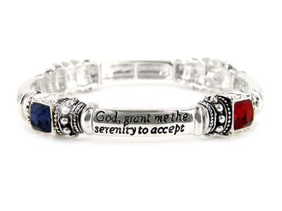 MULTICOLOR SERENITY PRAYER HEART AA RECOVERY INSPIRE BRACELET