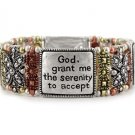 TRI TONE SERENITY PRAYER HEART AA RECOVERY BANGLE BRACELET