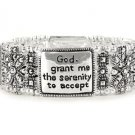 SILVER TONE SERENITY PRAYER HEART AA RECOVERY BANGLE BRACELET