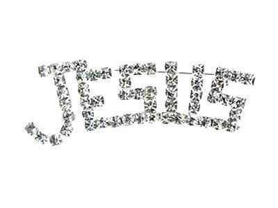 Jesus Clear Crystal Religious Brooch