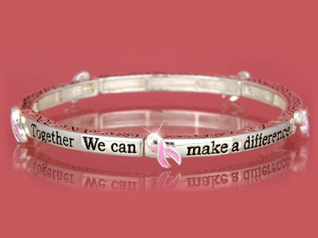 Together We Can l Pink Ribbon Breast Cancer Awareness Bracelet