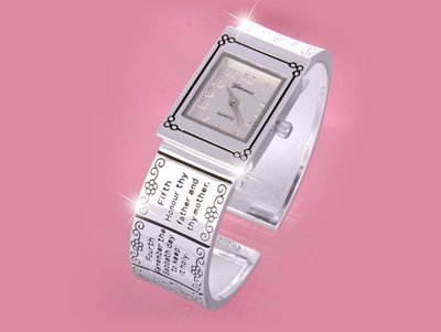 10 TEN COMMANDMENTS CUFF BANGLE WATCH