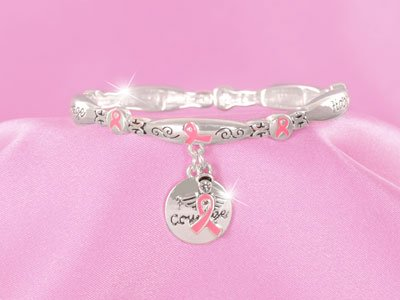 Pink Ribbon Breast Cancer Awareness Faith Courage Charm Bracelet