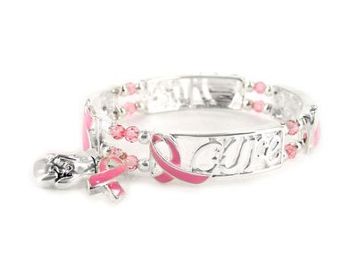 Pink Ribbon Breast Cancer Awareness Cure Hope Charm Bracelet
