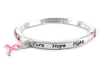 Crystal Pink Ribbon Breast Cancer Awareness Charm Bracelet