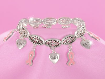 Pink Ribbon Breast Cancer Awareness Charm Hope Love Bracelet