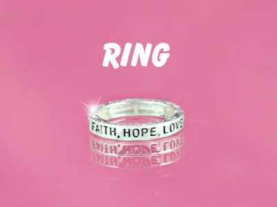Religious Faith Hope Love Stretch Ring