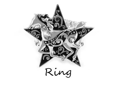 Cowgirl Black Star Horse Pony Ring