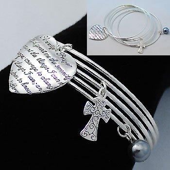 Serenity Prayer Cross Charm Bracelet
