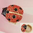 Red Black Gold Tone Ladybug Lady Bug Ring