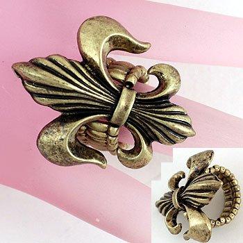 Burnished Gold Tone French Fleur De Lis Ring