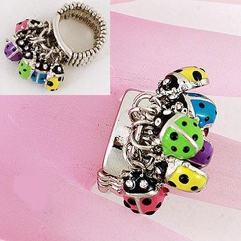 Layered Multicolor Ladybug Lady Bug Ring