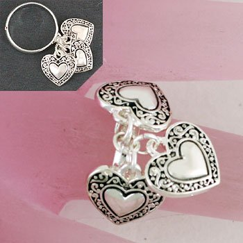 Silver Tone Valentines Day Heart Love Ring