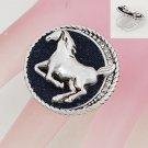 Silver Tone Black Horse Pony Ring