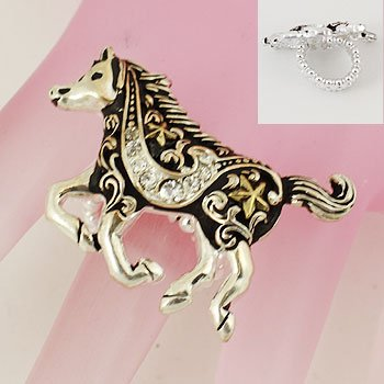 Two Tone Black Horse Pony Ring