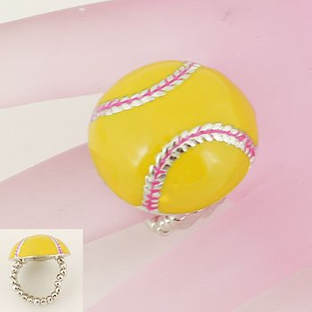 Yellow Softball Soft Ball Silver Tone Ring
