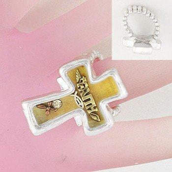 Religious Faith Cross Silver Tone Ring