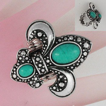 Blue French Fleur De Lis Turquoise Silver Tone Ring