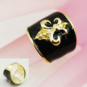 Black Gold Tone French Fleur De Lis Ring Size 5