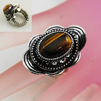 Brown Tigers Eye Oval Silver Tone Ring Size