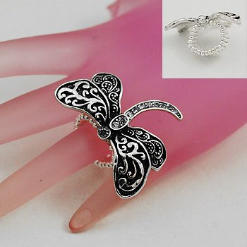 Dragonfly Dragon Fly Silver Tone Ring Size