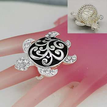 Filigree Tortoise Turtle Silver Tone Ring Size