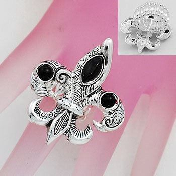 Artistic Black French Fleur De Lis Silver Tone Ring