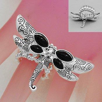Artistic Black Dragonfly Dragon Fly Silver Tone Ring