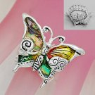 Artistic Abalone Butterfly Silver Tone Ring