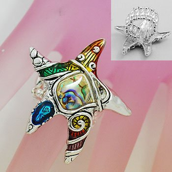 Artistic Abalone Starfish Star Fish Silver Tone Ring