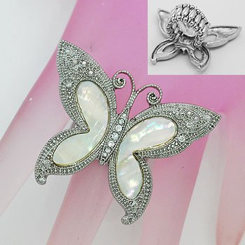Mother of Pearl MOP Butterfly Silver Tone Ring
