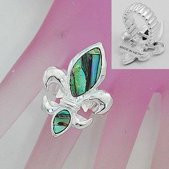 Abalone French Fleur De Lis Silver Tone Ring