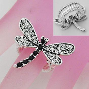 Black Clear Crystal Dragon Fly Dragonfly Silver Tone Ring