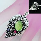 Multicolor Fall Leaf Silver Tone Ring